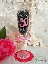 Personalised Hand Painted birthday 16th 20th 21st 30th 40 50 wine glass gift mum