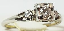 14K Vintage Art Deco Ladies White Gold Ring Solitaire With Diamonds.