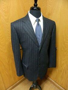 Sartoria Attolini Napoli Mens Suit  42r 36 X 29 Black stripe Wool Cashmere T-#37