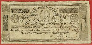 EL BANCO NACIONAL RIO DE LA PLATA 29.8.1834 1 PESO (PICK#S368a) SCARCE