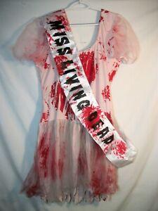Women's Torrid Bloody Beauty Queen Halloween Costume with Sash PLUS SZ 1-2 18-20