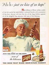 "Original 1940s Schlitz Beer ""French Chef"" paper ad 10 x 14 inch Tavern Trove"