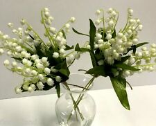 2x ARTIFICIAL FLOWER SILK PLASTIC WEDDING CREAM WHITE LILY OF THE VALLEY BUNCH