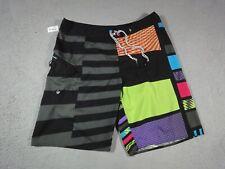 New listing Volcom Swim Trunks Mens 38 Black Green Board Shorts Bathing Suit Skate Surf