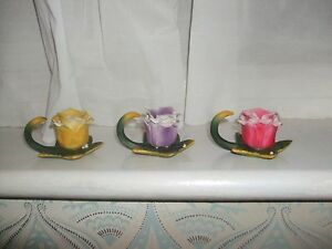 """""""Capodimonte"""" Style Rose On Lily Pad Candle Holder Set of 3 Lot Bundle Flowers"""