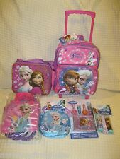Frozen Elsa Anna Rolling Backpack,Lunch Bag,Party Bags,Jump Rope,Puzzle,Lip Balm