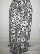 Long maxi stetchy black & white mono floral print skirt plus size 24+ bnwot hols