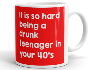 DRUNK TEENAGER IN 40'S MUG Birthday Gift Novelty Rude Cup Funny Him or Her
