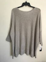 New Style & Co Woman's Dolman Sleeve Knit Pullover Cable Hem Sweater Heather V48