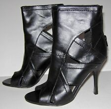 Black Leather Hachi Shiekh Ankle Boot Sexy High Heels Shoe Size 6 New In Box