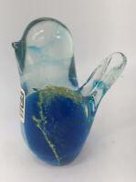 Vintage Small Stunning Mdina Malta Art Glass Bird Paperweight Blue And Gold