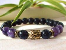 Sutra Unisex mala Buddhism men 8mm volcanic Amethyst Bracelet Bead energy