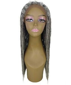 Straight 27.5 in 4X4 Hand Tied Lace Braid Wig, Grey