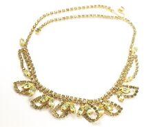 Vintage Ornate Yellow Topaz Crystal Rhinestone Floral Leaf Choker Chain Necklace