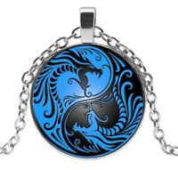 Collier Pendentif  Dragon Yin et Yang, Chaine argenté.
