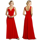Elegant Rhinestone V-Neck Formal Party Cocktail Bridesmaid Evening Dress Red