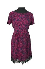 NEW LOOK Dress Size 10 Pink Blue Floral w/Net Holiday Evening Party Casual *