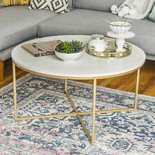 36 inch Marble and Gold Sturdy Metal Living Room Round Coffee Accent Table