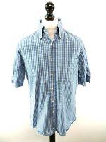 HUGO BOSS Mens Shirt Short Sleeve Medium 40 Blue Green White Cotton Two Ply