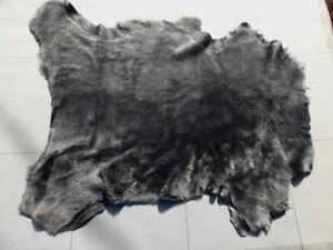 sheepskin shearling leather hide Shimmering Charcoal Black w/black suede back