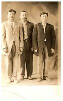3 Men In Suits RPPC B&W Vintage Postcard 1907-1915