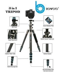 BONFOTO B674C Camera Carbon Fiber Travel Lightweight 3 in 1 Tripod + Carry Case