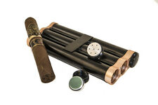 Black Cigar Metal Aluminum Case 3 Tubes Holder Hydrating With Humidifier