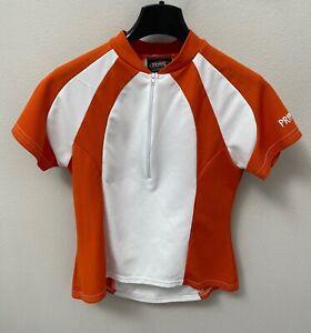 PRIMAL Cycling Jersey Women's Large Half-Zip Orange & White