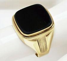 Herrenring Herren Ring 8 Karat 333 Gold 5,12 g Gelbgold Onyx Gr. 62