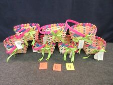 7 EASTER JUBILEE BUNNY WOVEN DECORATION RIBBON BASKET SQUARE PINK CHIPWOOD CRAFT