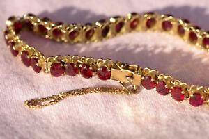 Hochwertiges Armband mit 33 Rubinen, 18 K vergoldet