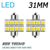 Ampoule navette 31mm 8 LED Blanc froid 12V voiture intérieur plafonnier (2 Pcs)