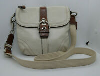 "Coach Pebbled Leather Crossbody Purse.  Ivory/Brown, 8""x8.5"",  Adjustable Strap"