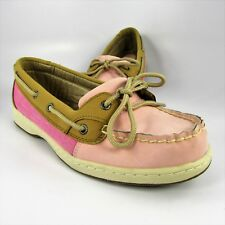 Bass Marlin Boat Shoes Womens Size 8M Brown & Pink Leather Deck Dock Moccasins