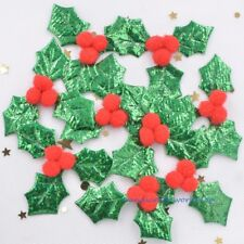 NEW 30Pcs Holly Berries with Plush Berry for Christmas Crafts Stickers Appliques