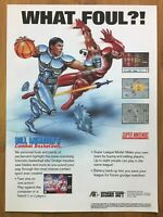 Bill Laimbeer's Combat Basketball SNES 1991 Vintage Print Ad/Poster Authentic