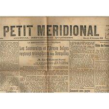 Le PETIT MÉRIDIONAL Lunel Cette Lodève Montpellier Roi Albert Belge 23 Nov. 1918