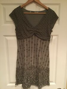 Athleta Gray & Brown Floral Patterned Athletic Dress, Size MP