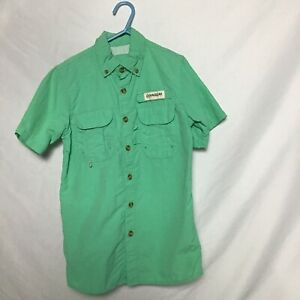 Magellan Vented Button Down Shirt Xs 6/7 Youth Green Short Sleeve