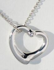 """Tiffany & Co Silver Elsa Peretti Diamond 22mm Open Heart 18"""" Necklace"""
