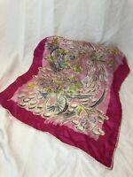 VTG Baar & Beards Scarf Hand Rolled Pure Silk Floral Baskets Bright Pink Colors