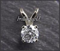 Diamant Brillant Anhänger 585 Gold mit 0,62 ct in River D & Si, Weißgold, Neu