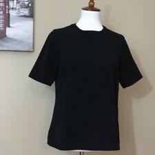CHANEL Uniform Black Quilt Trim Shirt Top Blouse S EUC