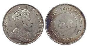 Malaysia Straits Settlements Edward VII Silver (.800) 50 Cents 1903 AD
