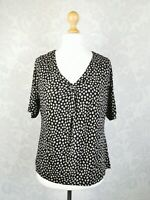 M&S Woman UK Size 18 V Neck Black Mix Top Blouse Work Career Office #c5
