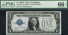 1928A ONE SILVER DOLLAR GEM UNC FUNNY BACK SILVER CERTIFICATE NOTE PMG 66 EPQ