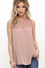 Fashion Women Summer Lace Vest Top Sleeveless Blouse Casual Tank Tops T- Shirt