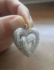 1.00ct Genuine Diamond 925 Solid Silver Double Heart Pendant - Large Size