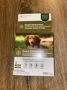 Bayer Chewable Quad Dewormer for Small Dogs, 2-25 lbs, 4 chewable tabs exp 03/23