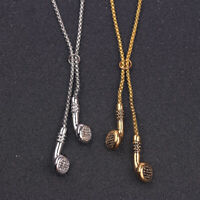 Fashion Jewelry Men's Long ChainHip Hop Music Headphone Pendant Necklace Gift UK
